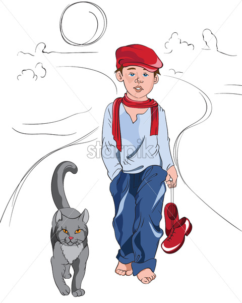 Little cartoon boy with red and blue clothes walking on a path with cat. Vector - Starpik Stock