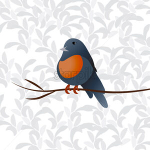 Little colorful orange and blue bird sitting on a thin branch. Vector - Starpik Stock