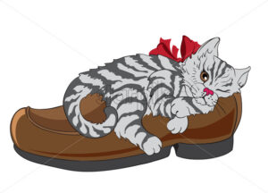 Little fluffy zebra cat with bow tie sleeping in a shoe. Vector - Starpik Stock
