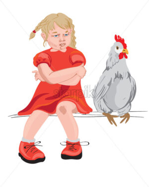 Little girl and a chicken sitting on a bench. Red clothes. Vector - Starpik Stock