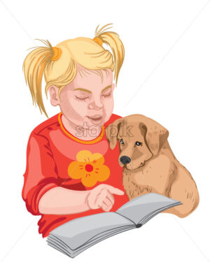 Little girl and a puppy reading a book. Colorful. Blonde hair. Vector - Starpik Stock