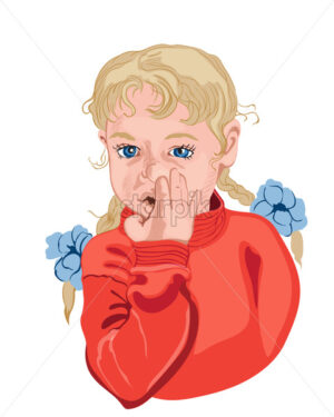 Little girl picking her nose. Blond hair. Colorful vector - Starpik Stock
