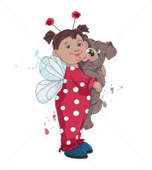 Little kid in ladybug clothes holding pug dog licking her. Vector - Starpik Stock
