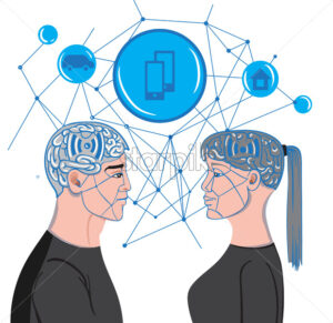 Man and woman brains making virtual mesh connections while looking at each others. Vector - Starpik Stock