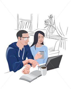 Man and woman watching at the laptop, while drinking a cup of coffee. Vector - Starpik Stock