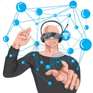 Man using advance technology VR glasses. Cartoon bald man in black sunglasses and headphones making wireless internet connection - Starpik Stock