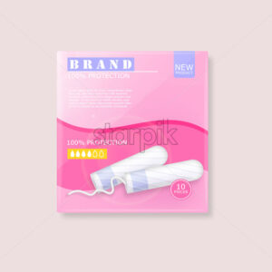 Menstrual cycle sanitary tampons advertisement package with place for brand. Vector - Starpik Stock