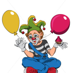 Mime clown with cupcake and colorful balloons smiling and waving. Vector - Starpik Stock