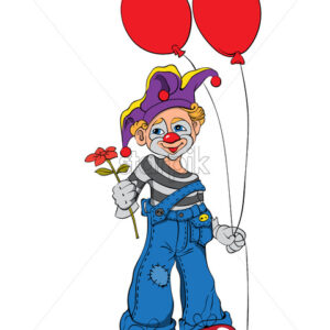 Mime clown with cupcake and red balloons smiling and handing a flower. Vector - Starpik Stock