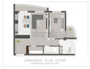 Modern apartment floor plan with top view. Sketch of a house. Vector - Starpik Stock