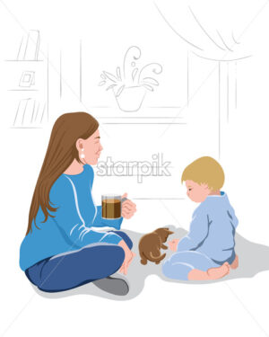 Mother peacefully watching her kid play with a little kitten while drinking a cup of coffee.Vector - Starpik Stock