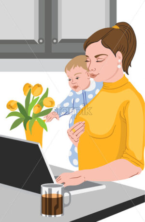 Mother with her baby in her hands working at the laptop, near a vase full with tulips, and drinking coffee. Vector - Starpik Stock