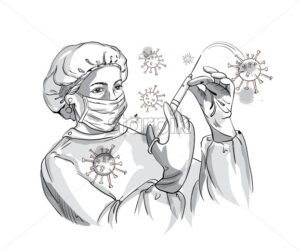 Nurse wearing protection equipment while fighting Corona virus with a syringe. Vector - Starpik Stock