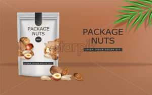 Nuts vector realistic mock up. Greek walnuts, almonds and hazelnuts. 3d detailed design product package - Starpik Stock