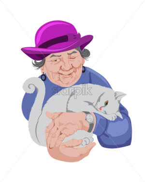 Old senior woman holding a cat. Blue sweater and pink hat. Vector - Starpik Stock