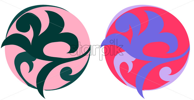 Oriental ornamented balls in pink and lavender color. Vector - Starpik Stock