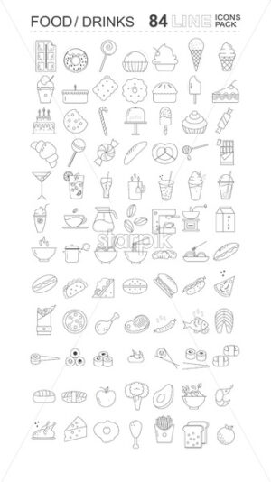 Pack of food and drinks icons. Sweets, bread, coffee, meat, fish and vegetables Vector - Starpik Stock