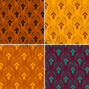 Pattern set with oriental decorations in different colors. Vector - Starpik Stock