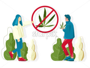 People fighting against cannabis usage in public places. Vector - Starpik Stock