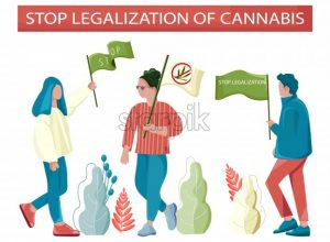 People protesting against legalization of cannabis. Holding flags and posters. Vector - Starpik Stock