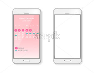 Period and ovulation calendar on smart phone screen. Menstrual cycle. Vector - Starpik Stock