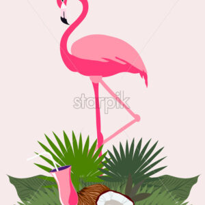 Pink flamingo bird in tropical leaves with coconut and cocktail. Vector - Starpik Stock