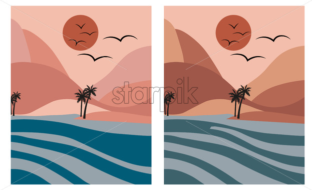 Pink romantic beach with palm trees and blue sea at dawn. Moon in the sky Vector - Starpik Stock