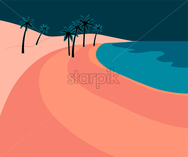Pink romantic beach with palm trees and blue sea at dawn. Vector - Starpik Stock