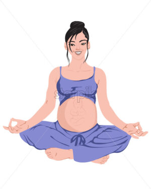 Pregnant woman practicing yoga Vector. making lotus pose in purple pajamas vector - Starpik Stock