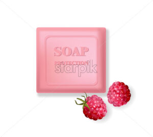 Rose soap protection with raspberry aroma. Menstrual cycle. Vector - Starpik Stock