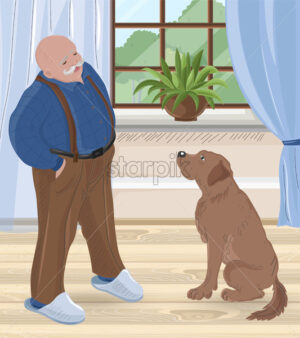 Senior bald man with mustache talking to his dog inside house. Vector - Starpik Stock