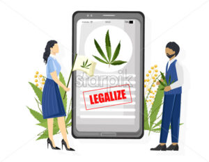 Senior people protesting for legalizing cannabis usage. Smart phone app petition. Vector - Starpik Stock