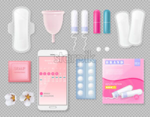 Set of Menstrual cycle products with sanitary napkin, cup, tampons, soap, pills, package with place for brand and flowers. Vector - Starpik Stock