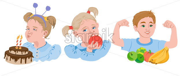 Set of cartoon kids eating fruits, vegetables and cake. Blonde girl eating an apple, boy showing his biceps, brown haired kid blowing out candles. Vector - Starpik Stock