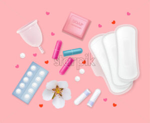Set of female menstrual cycle hygiene products. Sanitary napkin, tampons, pills, flowers, soap, hearts. Pink background Vector - Starpik Stock