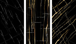 Set of marble textures with golden cracks and fractures. Vector - Starpik Stock
