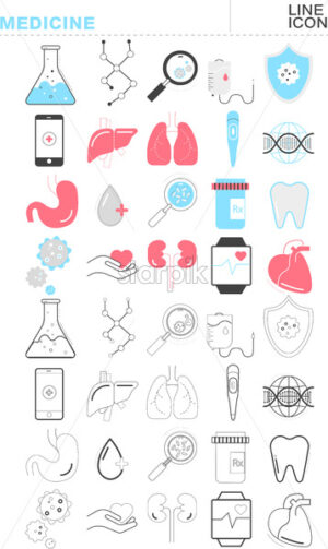 Set of medicine line icons. Flask, lungs, DNA, liver, mobile phone and watch app, heart, bacterias. Vector - Starpik Stock