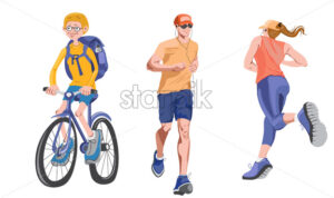 Set of realistic characters doing sport activities outdoors. Biking and running with headphones. Vector - Starpik Stock