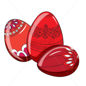 Set of red easter eggs with various ornaments. Vector - Starpik Stock