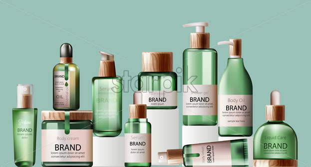Set of various body care and spa green bottles with wood decoration. Body oil, lotion, serum, shower gel and perfume. Place for brand. Green background. Showcase. Vector - Starpik Stock
