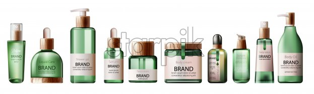 Set of various body care and spa green bottles with wood decoration. Body oil, lotion, serum, shower gel and perfume. Place for brand. Vector - Starpik Stock