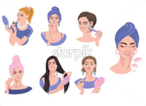 Set of woman portraits in blue clothes doing makeup. Brushing hair, wearing lipstick, powdering face. Vector - Starpik Stock
