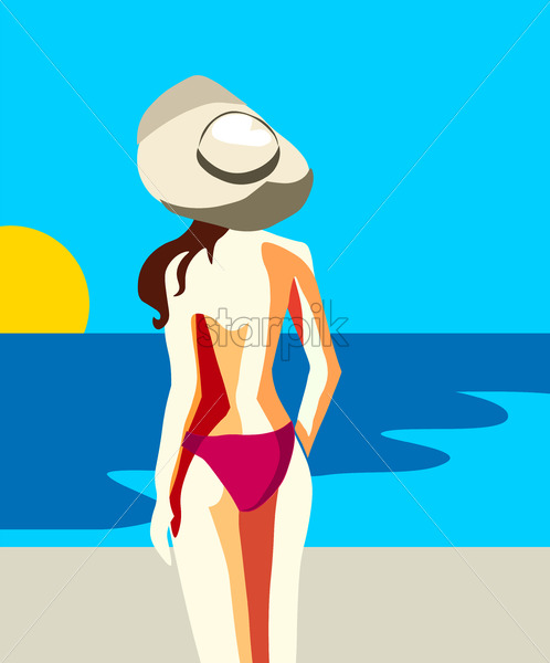 Sexy young woman in pink swimsuit and hat staring at the sun and blue sea. Vector - Starpik Stock