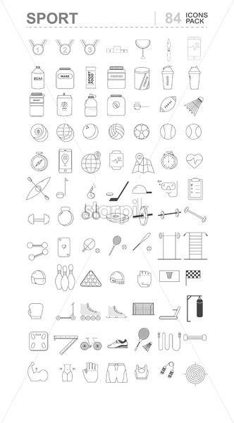 Sport icons pack with medals, protein, equipment, football, dumbbells, heart rate watch and clothes. Line art Vector - Starpik Stock