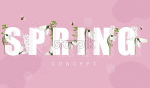 Spring banner with white snowdrops and lilac flowers. Rose background. Vector - Starpik Stock