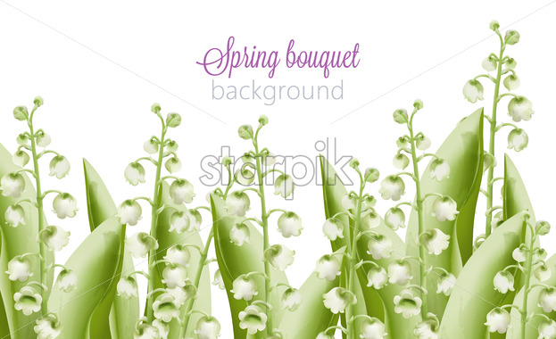 Spring bouquet of green watercolor bell flowers with leaves. Vector - Starpik Stock