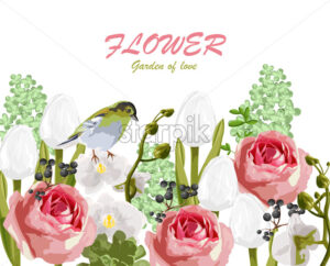 Spring garden of love with rose, tulip flowers, berries and bird. Vector - Starpik Stock