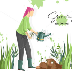 Spring gardening composition with a woman watering snowdrops. Vector - Starpik Stock