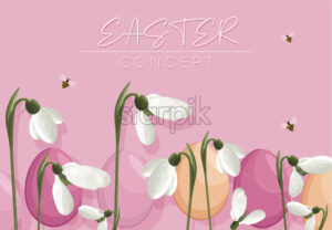 Spring purple banner with easter eggs, white snowdrops and bees flying. Vector - Starpik Stock
