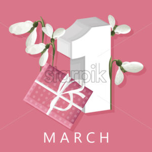 Spring rose gift box with rose tulip flowers. First day of march. White snowdrops. Place for text. Vector - Starpik Stock
